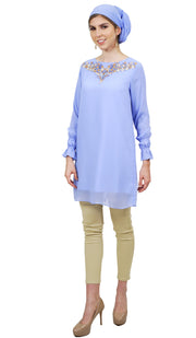 Asma Embroidered Formal Long Modest Tunic - Blue