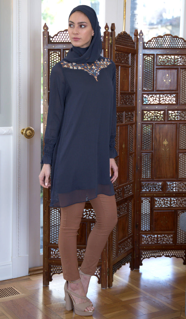 Asma Embroidered Long Modest Tunic - Black