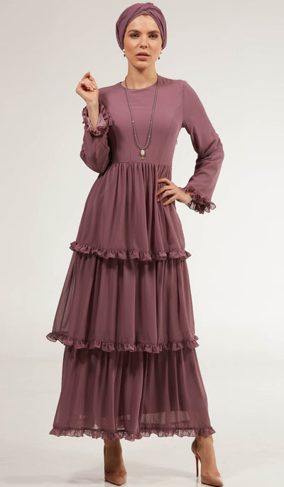 Asma Tiered Chiffon Modest Maxi Dress - Lilac