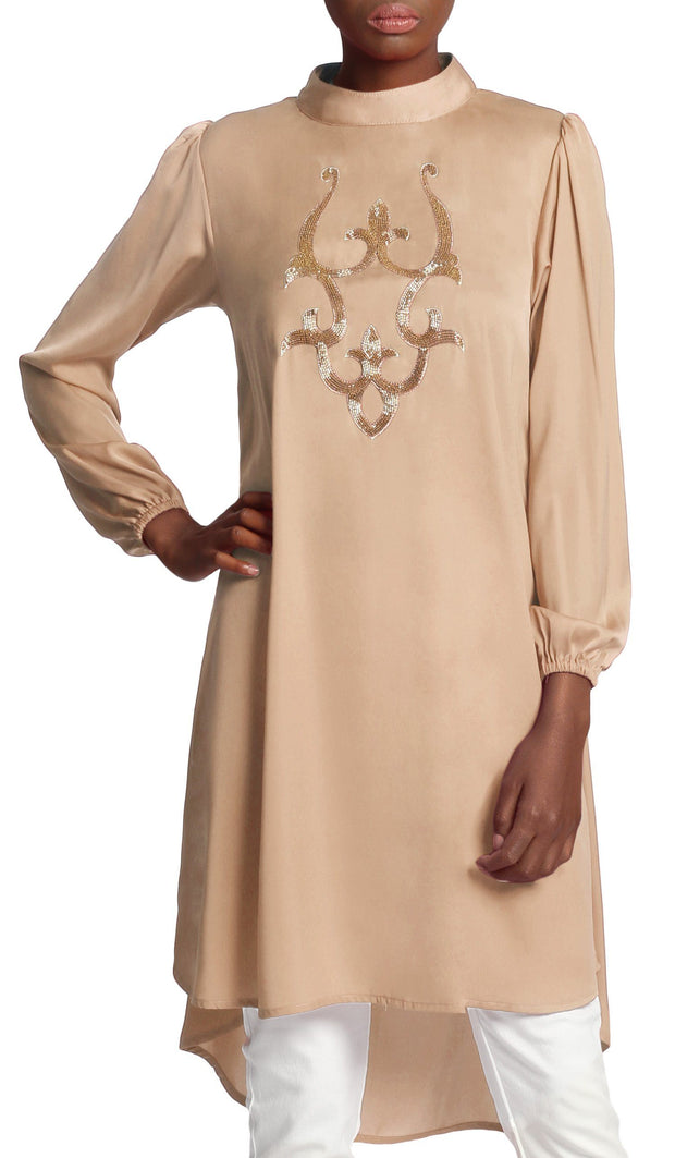 Asra Silky Embroidered Formal Long Tunic Dress - Beige Gold