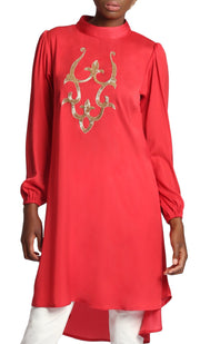 Asra Silky Embroidered Formal Long Tunic Dress - Red