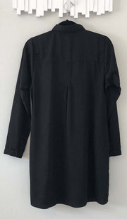 Aubrie Long Buttondown Modest Tunic Dress - Black