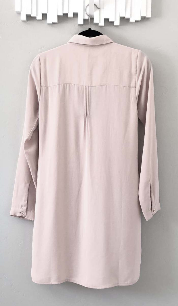 Aubrie Long Buttondown Modest Tunic Dress - Dusty Pink