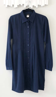 Aubrie Long Buttondown Modest Tunic Dress - Navy - PREORDER