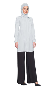 Aubrie Long Buttondown Modest Tunic Dress - Silver Mist