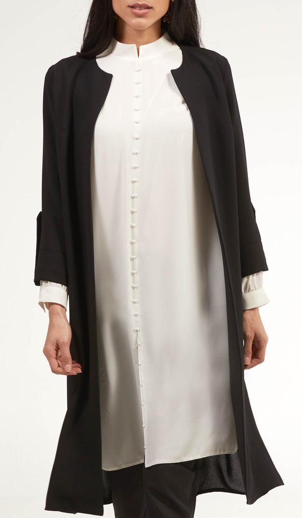 Ava Dressy Long Open Front Jacket - Black