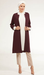 Ava Dressy Long Open Front Jacket - Maroon