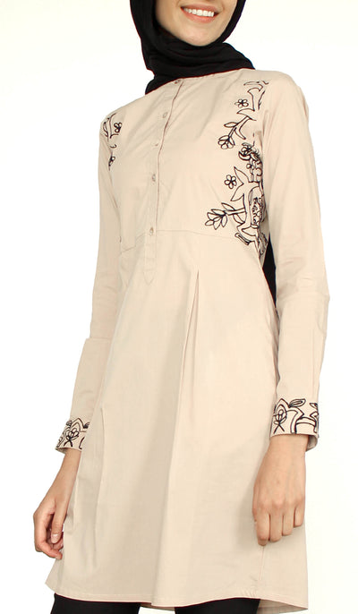 Awaz Embroidered Cotton Modest Tunic - Latte