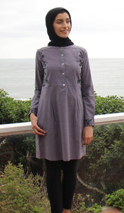 Awaz Embroidered Cotton Modest Tunic - Dusty Purple