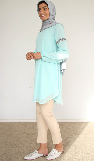 Aya Embroidered Long Modest Tunic - Aqua