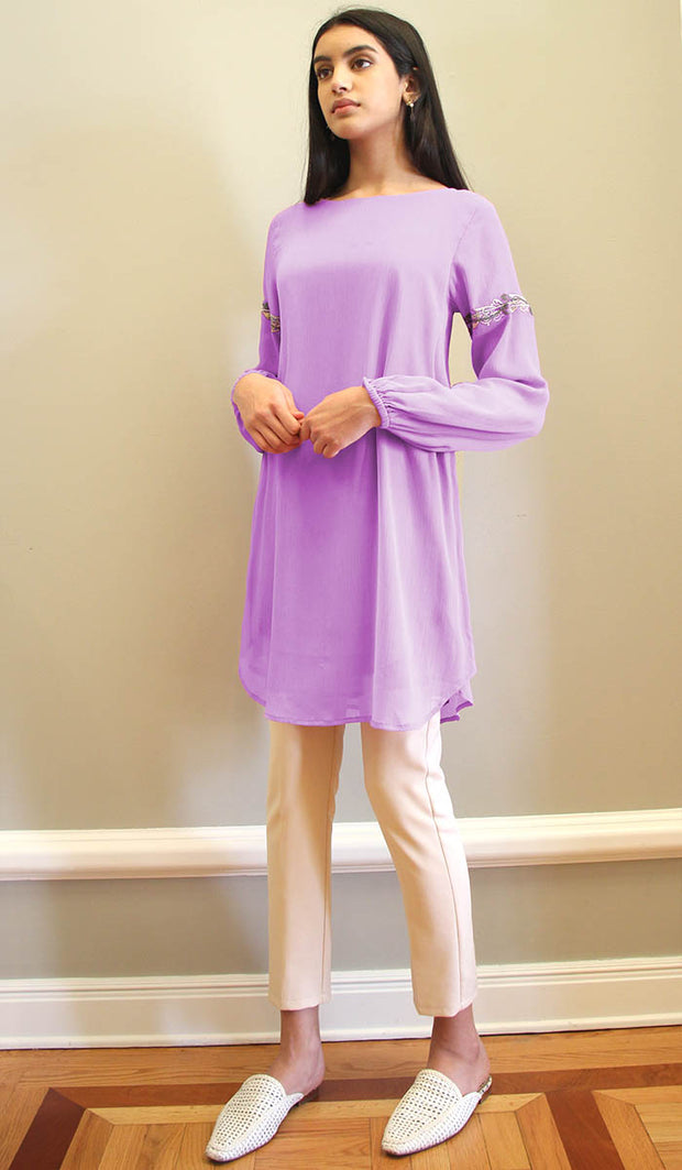 Aya Embroidered Long Modest Tunic - Lilac