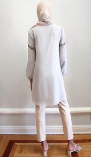 Aya Embroidered Long Modest Tunic - Silver