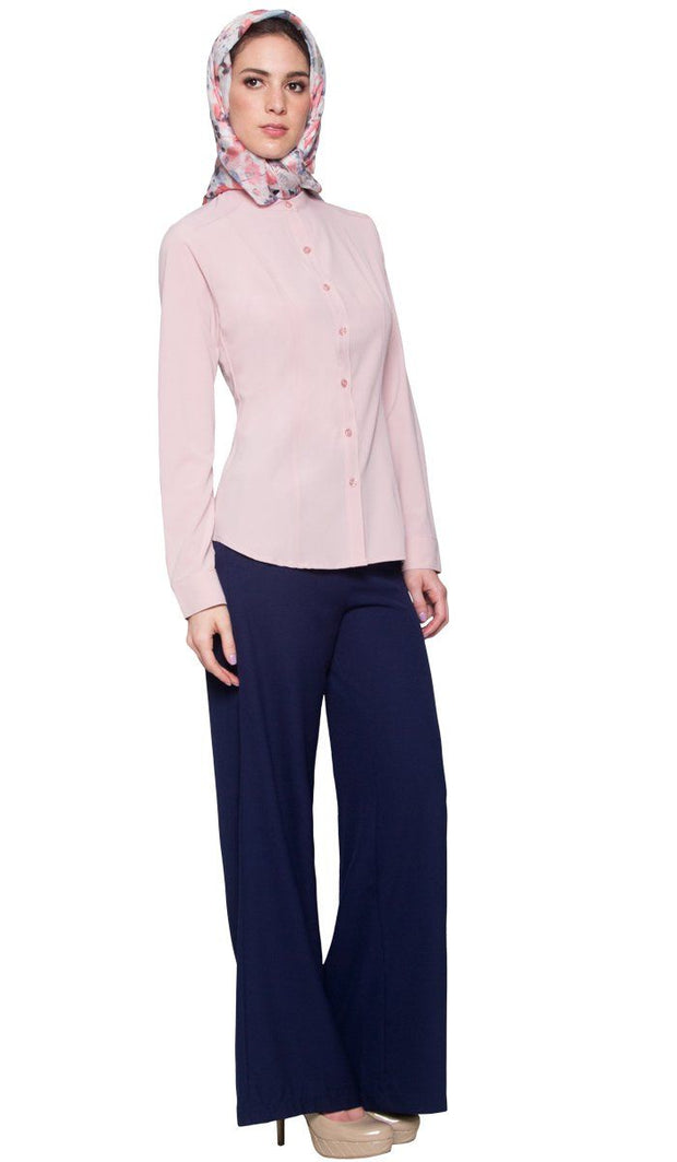 Ayn No Wrinkle Button Down Modest Dress Shirt - Dusty Rose