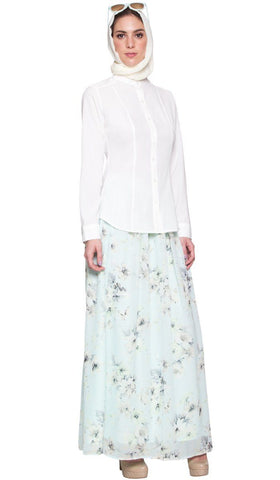 Ayn No Wrinkle Button Down Modest Dress Shirt - Off White