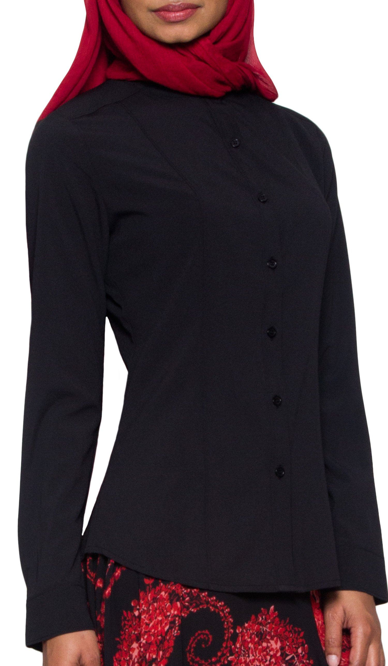 Ayn No Wrinkle Button Down Modest Dress Shirt - Black