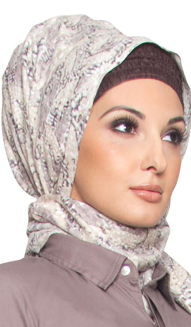 Beige and Grey Printed Hijab Scarf - ARTIZARA.COM