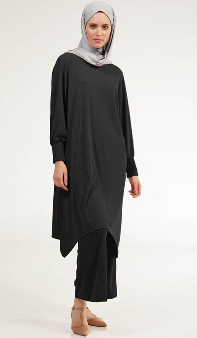 Basma Long Loose Modest Midi Tunic - Black