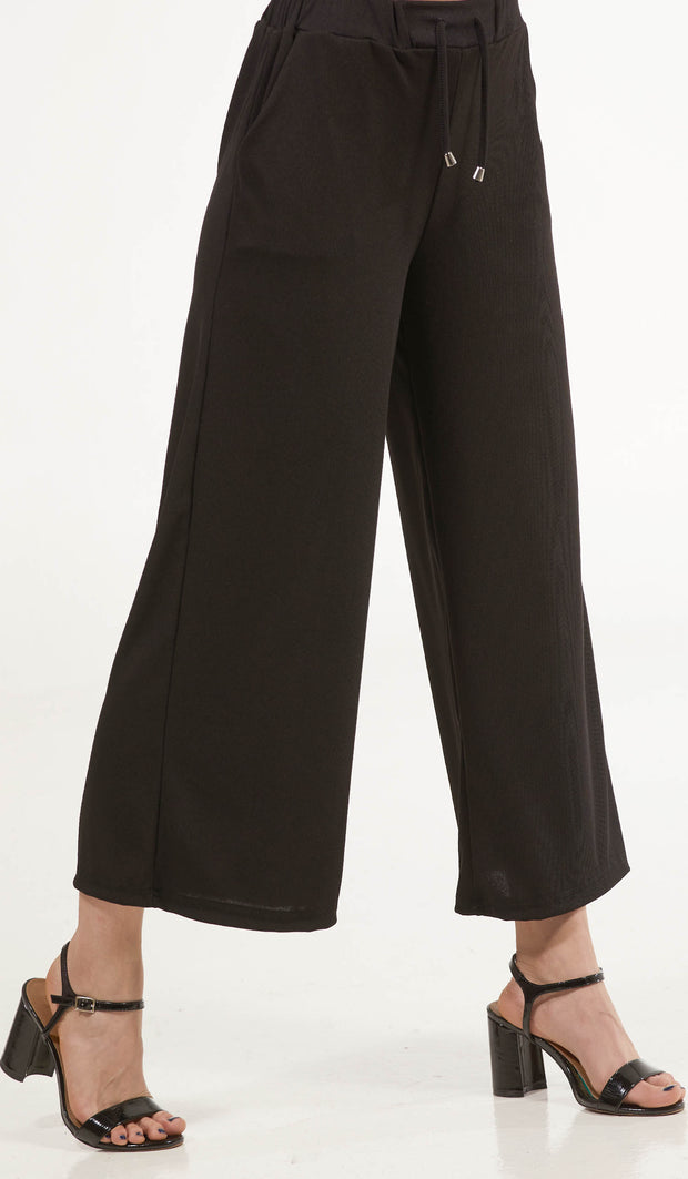 Basma Loose and Flowy Stretch Wide Leg Pants - Black
