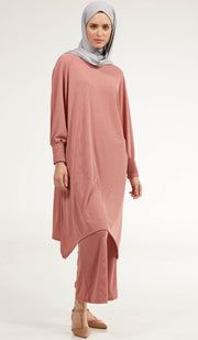 Basma Long Loose Modest Midi Tunic - Rose Pink