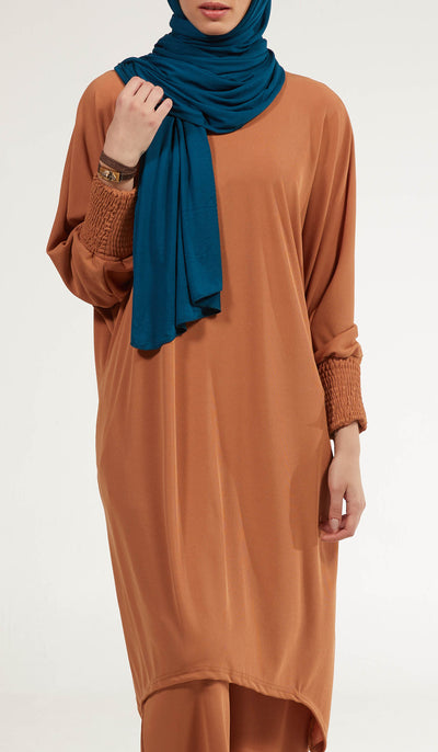 Basma Long Loose Modest Midi Tunic - Spice