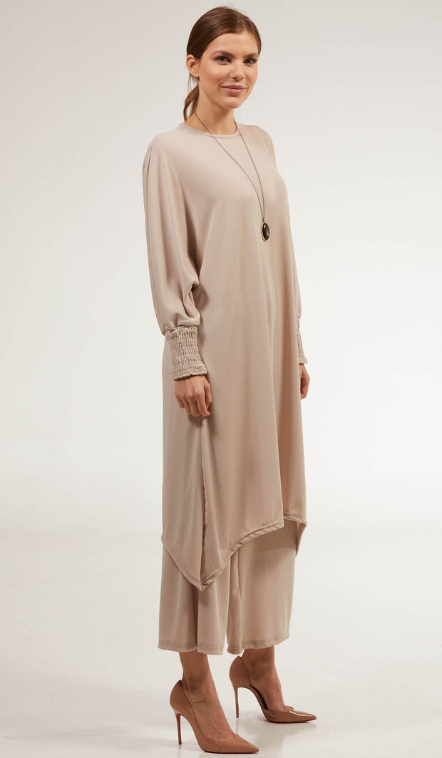 Basma Long Loose Modest Midi Tunic - Taupe
