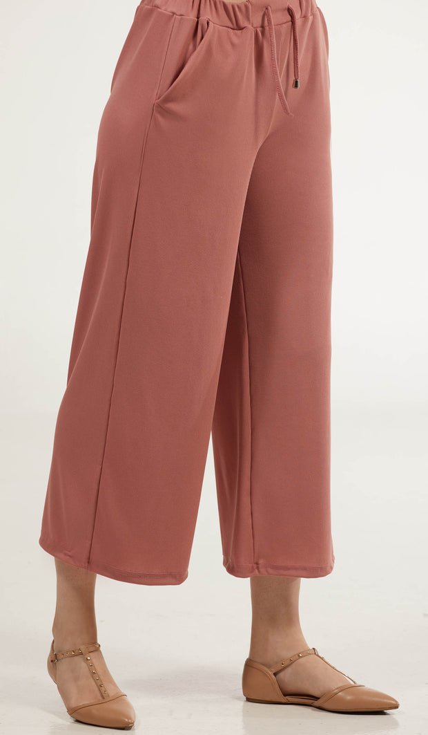 Basma Loose and Flowy Stretch Wide Leg Pants - Rose Pink