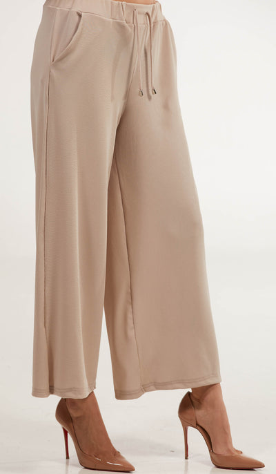 Basma Loose and Flowy Stretch Wide Leg Pants - Taupe