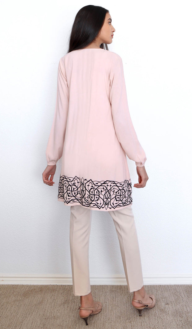 Bazia Embroidered Modest Tunic Dress - Blush Pink