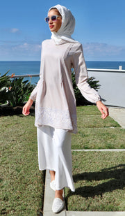 Bazia Embroidered Modest Tunic Dress - Latte