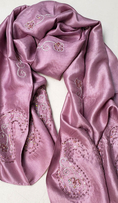 Beena Hand Embroidered Silk Wrap Hijab Scarf - Purple