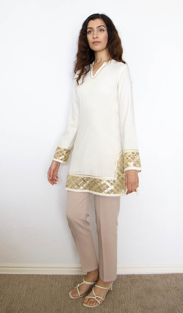 Behnaz Gold Embellished Long Modest Tunic - Cream - PREORDER