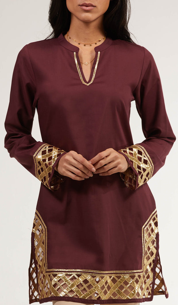 Behnaz Gold Embellished Long Modest Tunic - Orchid