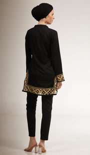 Behnaz Gold Embellished Long Modest Tunic - Black