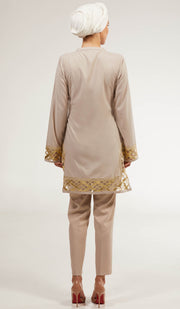 Behnaz Gold Embellished Long Modest Tunic - Pearl