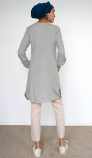 Bela Embroidered Modest Buttondown Tunic - Gray
