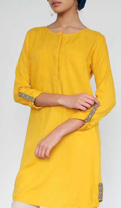 Bela Embroidered Modest Buttondown Tunic - Saffron