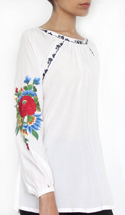 Billo Embroidered Cotton Modest Tunic - Off White