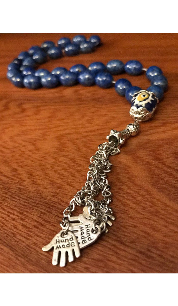 Handmade Blue Amethyst on Silver Tasbih, Tasbeeh, Misbaha, Sebha, Prayer Beads