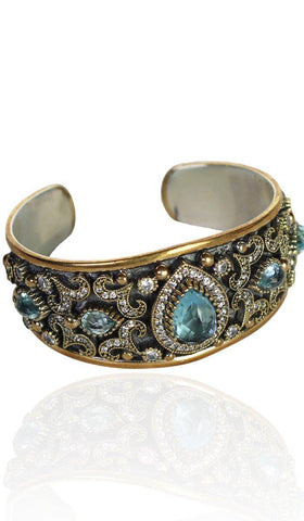 Sterling Silver Ottoman Turkish Style Adjustable Cuff Bracelet - Blue