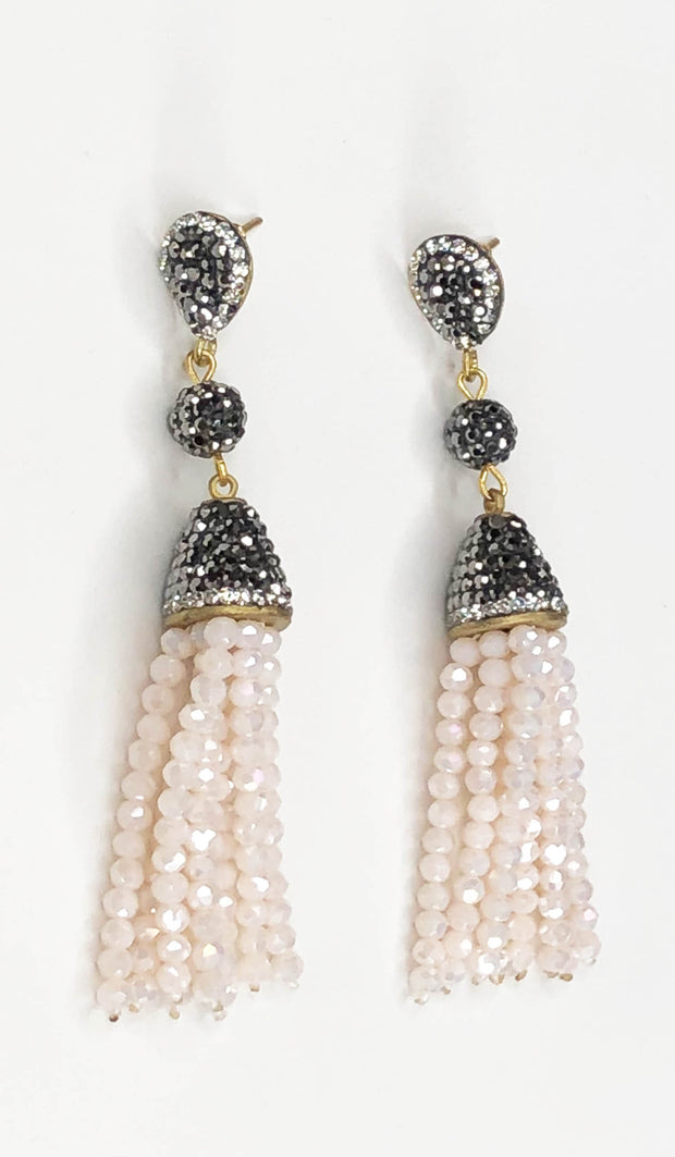 Blush Pink Crystal Turkish Tassel Earrings
