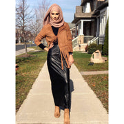 Karin Faux Suede Light Long Fringed Jacket - Brown - ARTIZARA.COM
