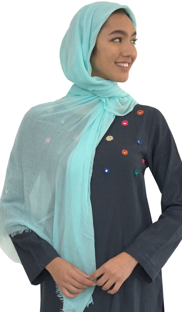 Celebrity Lightweight Oblong Extra Large Wrap Hijab - Aqua