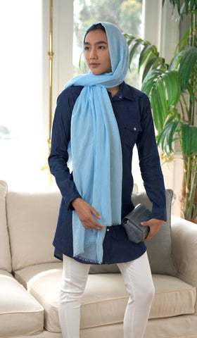 Celebrity Lightweight Oblong Extra Large Wrap Hijab - Sky