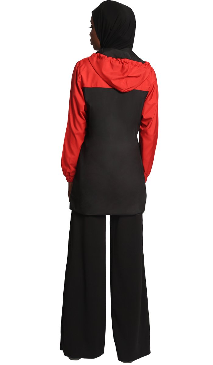 Celia Hooded Long Modest Muslim Sport Jacket - Black/Red