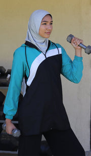 ONE PIECE STRETCH SPORTS HIJAB - GREY