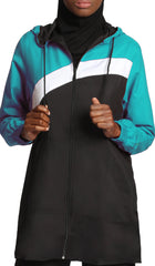 Celia Hooded Long Modest Sport Jacket - Black/Teal
