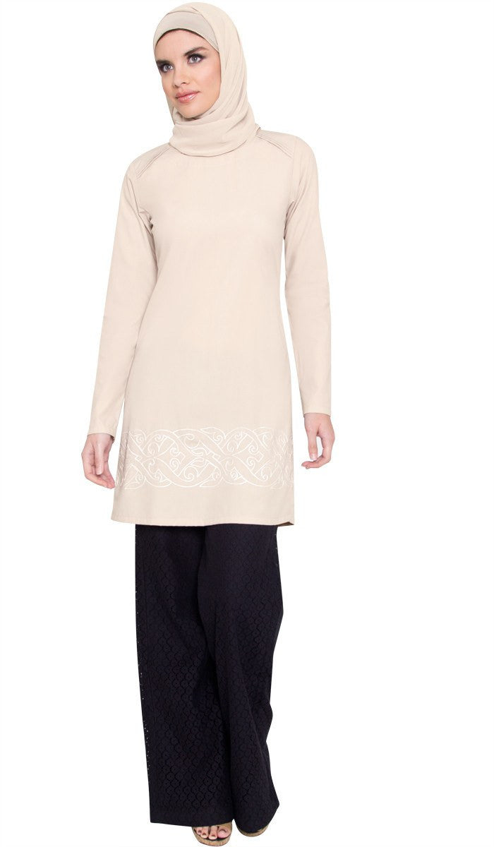 Coralie Embroidered Long Modest Muslim Tunic - Mocha