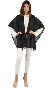 Cyma Open Front Belted Kimono Duster -Black- One Size