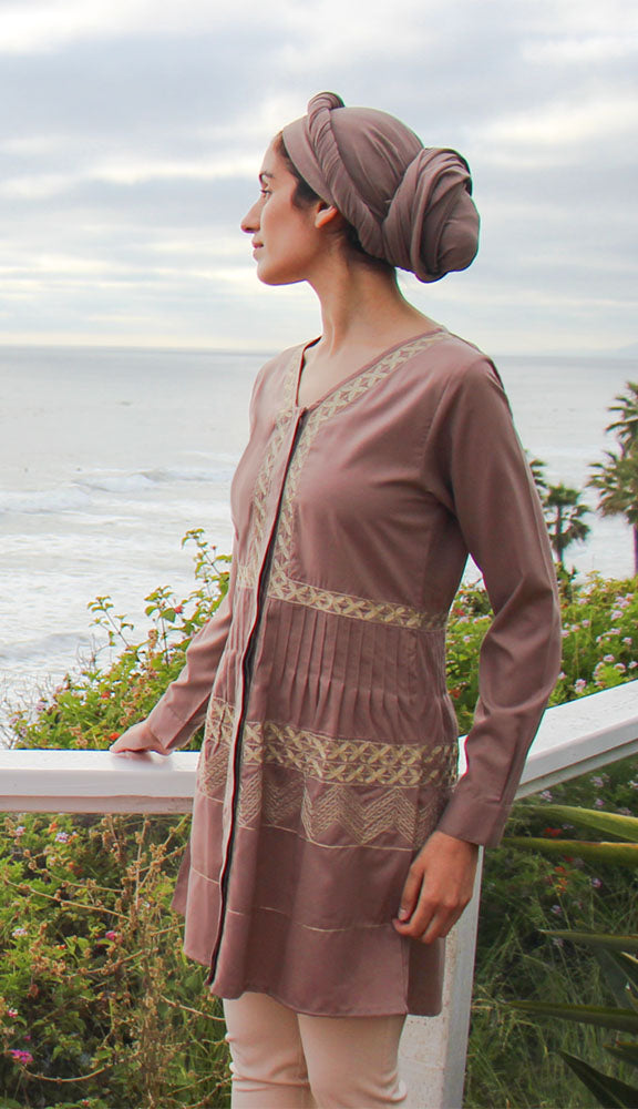 Darvi Mostly Cotton Embroidered Modest Tunic - Mocha