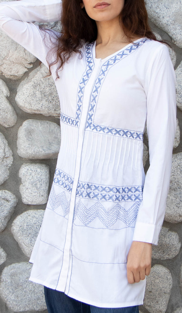 Darvi Embroidered Modest Buttondown Tunic - White